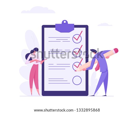 Businessman Character Mark Checklist with Pen. Businesswoman Completion Business Task. Goal Achievements Planning Schedule Concept. Flat Vector Cartoon Illustration