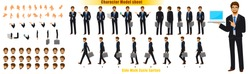 Businessman Character Model sheet with Walk cycle Animation. character design. Front, side, back view animated character. character creation set with various views, face emotions, poses and gestures.