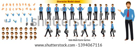 Businessman Character Model sheet with Walk cycle Animation. Flat character design. Front, side, back view animated character. character creation set with various views, face emotions and gestures.