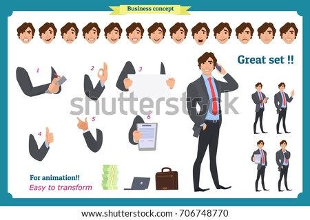 businessman character poses