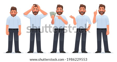 Businessman character set. Guy in different actions. The man is tired, he is in shock, holds money in his hands, says, gesture idea. Vector illustration in cartoon style