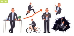 Businessman character set. Man manager in various poses and situations. Rides a bike, runs on schedule, reads a book, falls into a hole, at a work desk. Vector illustration in flat style