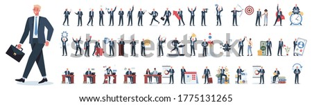 Businessman character set. Poses and meeting, data and hero. Character in suit doing different activities. Office presentation and finance operation. 50 different situation. Vector illustration
