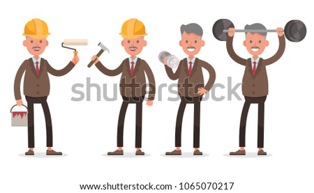 businessman character vector design. Presentation in various action with emotions, standing, walking and working.