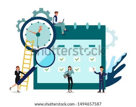Businessman characters make an online schedule in the tablet. design business graphics tasks scheduling on a week. vector illustration.