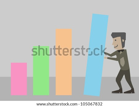 Businessman chart block
