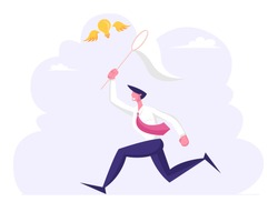 Businessman Chasing Flying Light Bulb Trying to Catch it with Butterfly Net. Business Man Searching Inspiration Creative Idea, Financial Success Opportunity Wealth. Cartoon Flat Vector Illustration