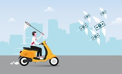 Businessman chasing flying money with his yellow scooter vector illustration.