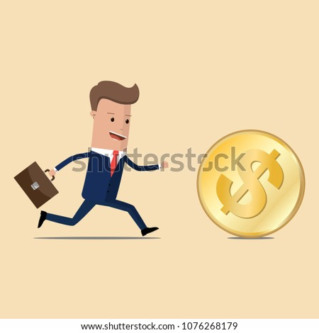 Businessman chasing the golden dollar coin. Race for success. Making money. Vector illustration