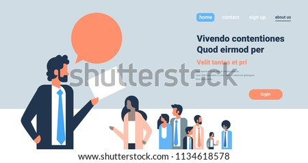 businessman chat bubble hand hold cv resume business man over group mix race people choosing candidate for vacancy job position recruitment concept flat copy space horizontal vector illustration