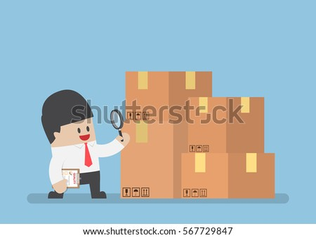 Businessman checking parcel box by magnifying glass, products quality control or QC concept