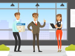 Businessman Chief Giving Advice to Employees in Office, Supervising at Work, Leadership, Effective and Productive Management Concept Flat Vector Illustration