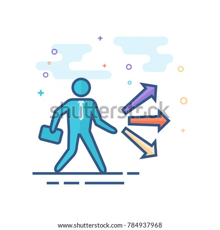 Businessman choice icon in outlined flat color style. Vector illustration.