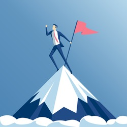 Businessman climbed to the top of the mountain and enjoys victory. Employee hoisted to the peak of the flag and rejoice success, business concept