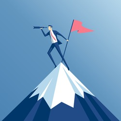 businessman climbed to the top of the mountain with a flag and looking into the spyglass, employee is on a mountain top and holding a flag, business concept of success and search opportunities
