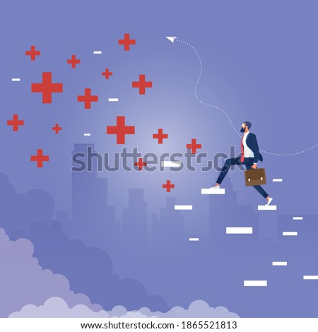 Businessman climbing abstract plus and minus ladder to top, Search positive thinking among negative thinking