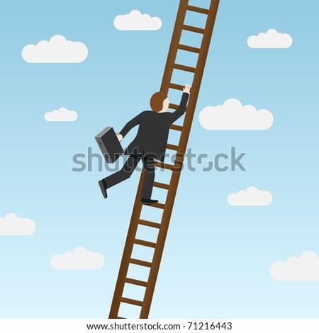 Businessman climbing ladder, carrying briefcase. Vector illustration - stock vector