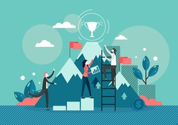 Businessman climbing stepladder to reach trophy cup on the mountain peak, vector flat style design illustration. Business team success, leadership, goal achievement, business career.