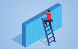 Businessman climbing the ladder over the wall