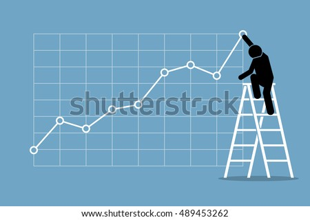businessman climbing up on a