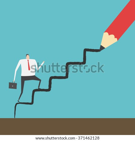 businessman climbing up the