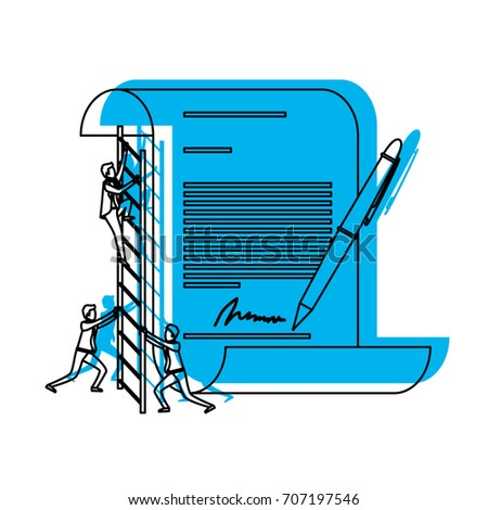 businessman climbing wooden stairs in a big contract document with pen and firm in blue watercolor silhouette vector illustration