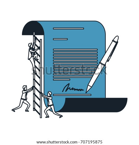 businessman climbing wooden stairs in a big contract document with pen and firm in color blue sections silhouette vector illustration