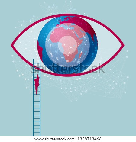 Businessman climbs the eye and uses the ladder. The eyeball is a huge earth. Isolated on blue background.