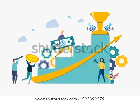Businessman climbs up the stairs and holds money, career planning, career growth concept, teamwork. Colorful vector illustration