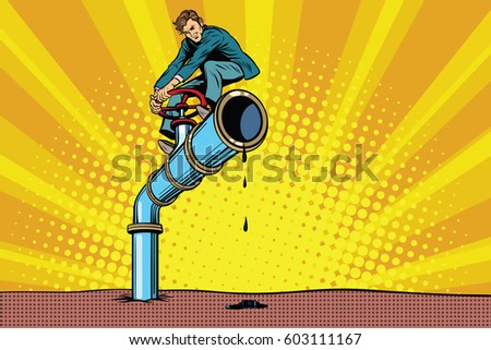 businessman closes the oil pipe