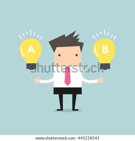 Businessman compares idea A to idea B. vector ストックフォト ©