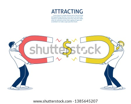 Businessman competitive attracts money with a large magnet. Business attracting concept. hand drawn style vector doodle design illustrations. - Vector
