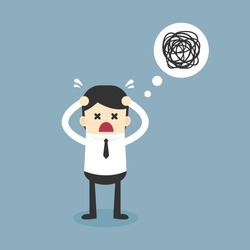 Businessman confused, Business concept, Vector illustration.