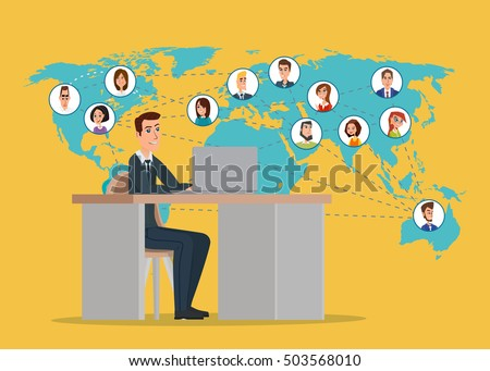 businessman connected with his friend around the world. Business concept. Vector creative color illustrations flat design in flat modern style.