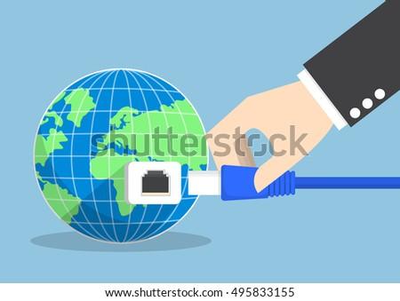 businessman connecting plug