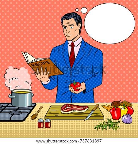 businessman cooking food pop...