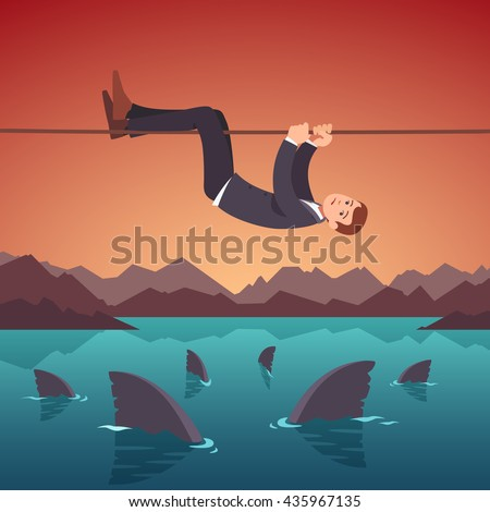 businessman crawling over a sea