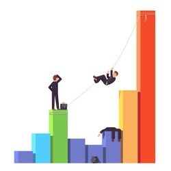 Businessman crossing startup death valley or economic decline and financial crisis. Climbing up on a rope over a dead competitor. Business risks bar chart concept. Flat style vector illustration.