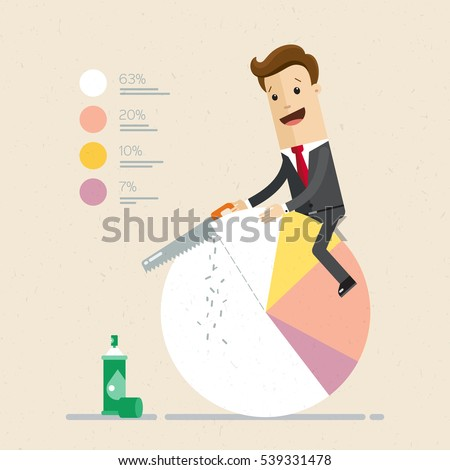 Businessman cut chart pie peace with saw . vector illustration flat. Business, finance, market