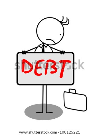 Businessman debt sad Banner