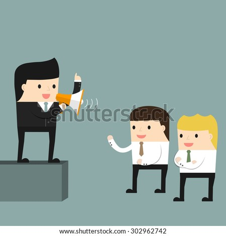 Businessman delivers a speech in front of subordinates. Vector illustration.