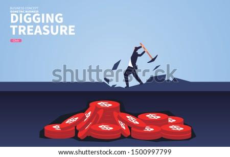 businessman digging for