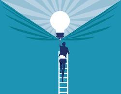 Businessman discover best ideas . Concept business vector illustration.