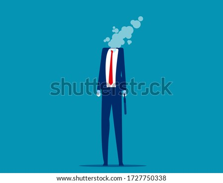 Businessman dissolves in smoke. Flat cartoon vector style design Foto d'archivio ©
