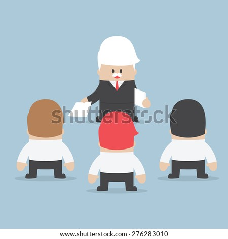 Businessman divide up the work to his employee, Delegation concept, VECTOR, EPS10