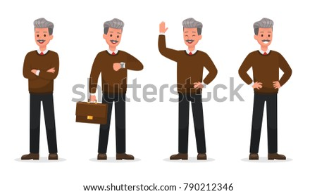 Businessman doing different gestures. Character vector design.