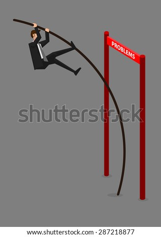 businessman doing pole vaulting