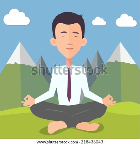 businessman doing yoga -  flat design vector
