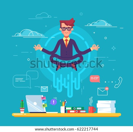 Businessman doing yoga to calm down the stressful emotion from hard work in office over desk with office process icons on background. Concept of meditation. Modern vector illustration.