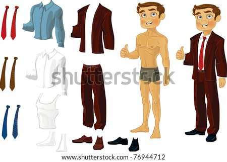 Businessman Doll-Dress with a set of business clothes in shades of brown